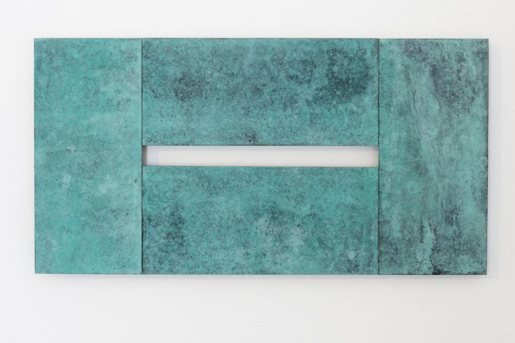 Stephen Bambury, Seven Days (III), 2014, chemical action on four brass plates, 170 x 327 mm