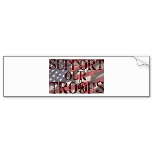 Support our troops copy bumper sticker