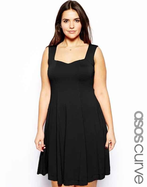 Sleeveless Skater Dress With Sweetheart Neck In Longer Length, $38.69, ASOS | 27 Fabulous Plus Size Little Black Dresses Under $50