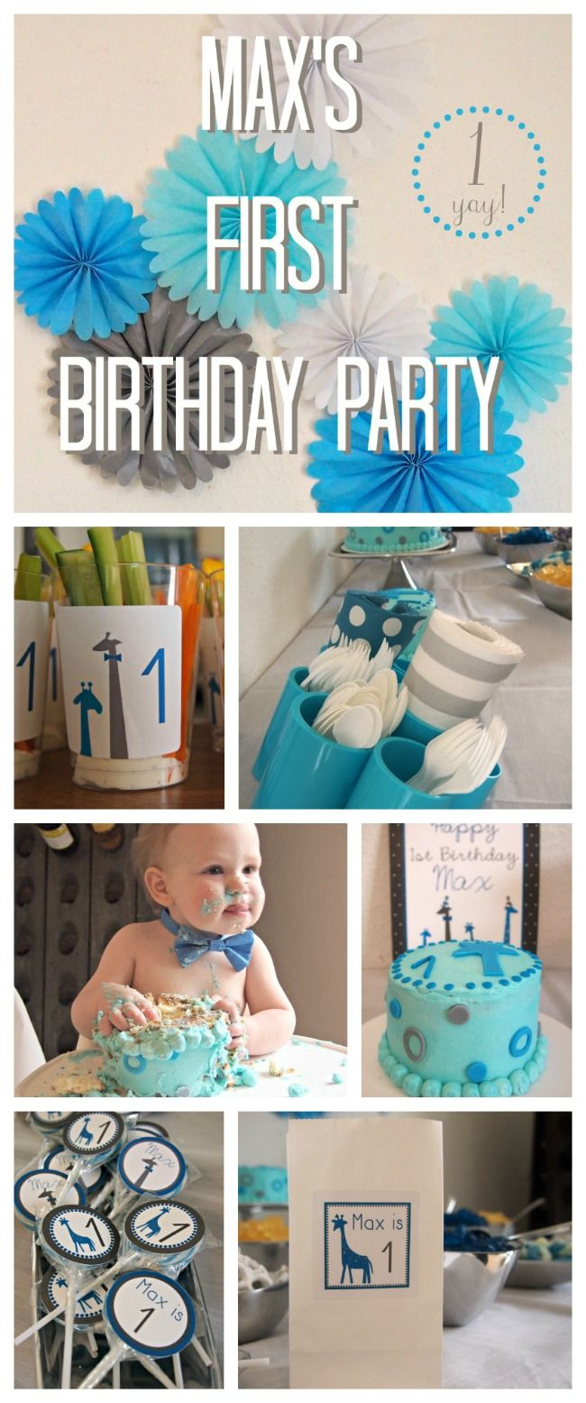 Giraffe Theme First Birthday Party Gray Turquoise Colors