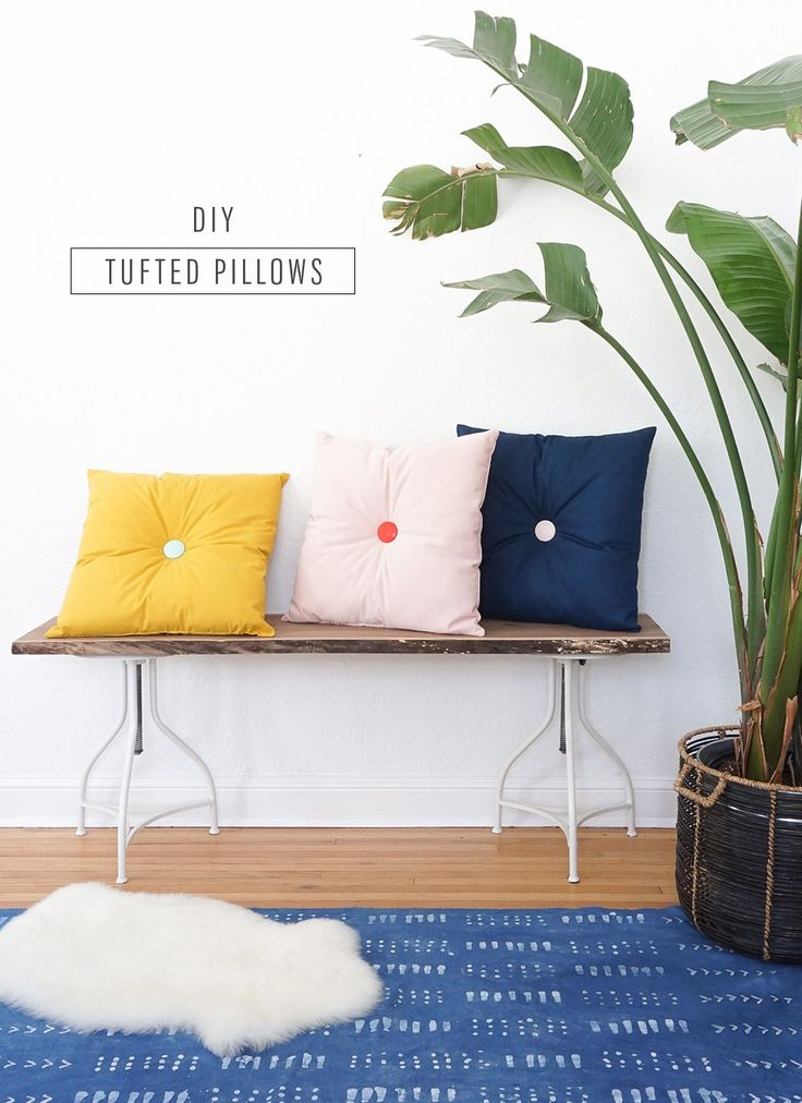 Colorful DIY tufted pillows tutorial