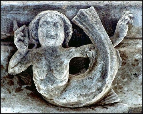 Heckington Lincolnshire medieval stone work Mermaid The Easter Sepulchre and sedilia at Heckington should be Lincolnshire's greatest medieval treasure, bu both suffered appalling damage at the hands of iconoclasts. The carvings on the top frieze of the Easter Sepulchre is relativelt intact, perhaps simply because it is high, and this little mermaid is virtually unscathed.