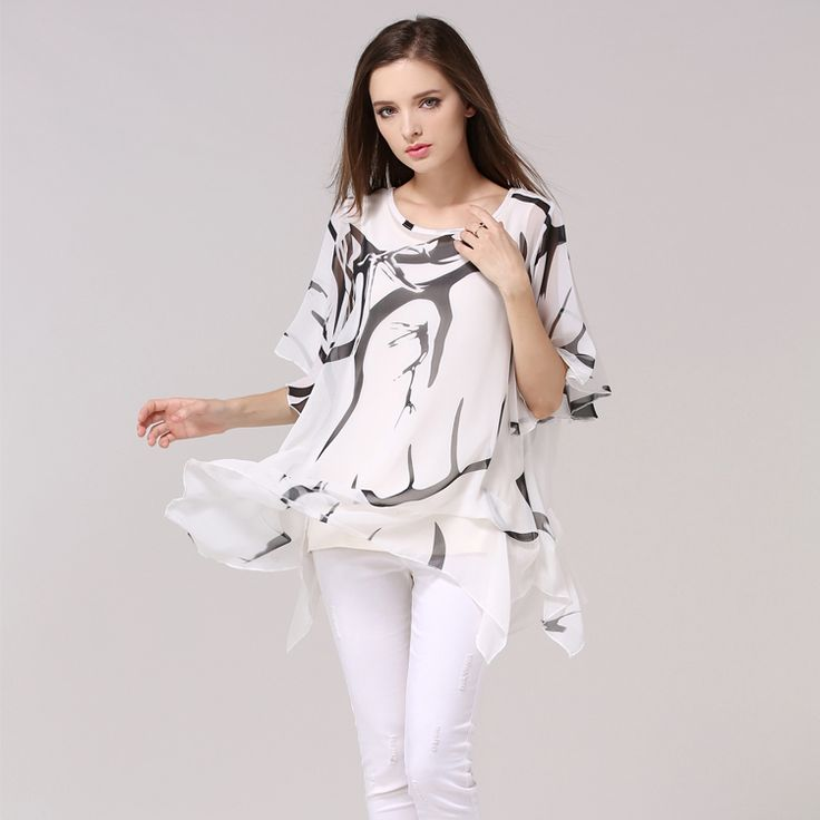 M-5xl Plus Size Batwing Sleeve T Shirt Women Summer 2017 Fashion O-neck Long Section Print T-shirt Casual Elegant Tshirt Tops