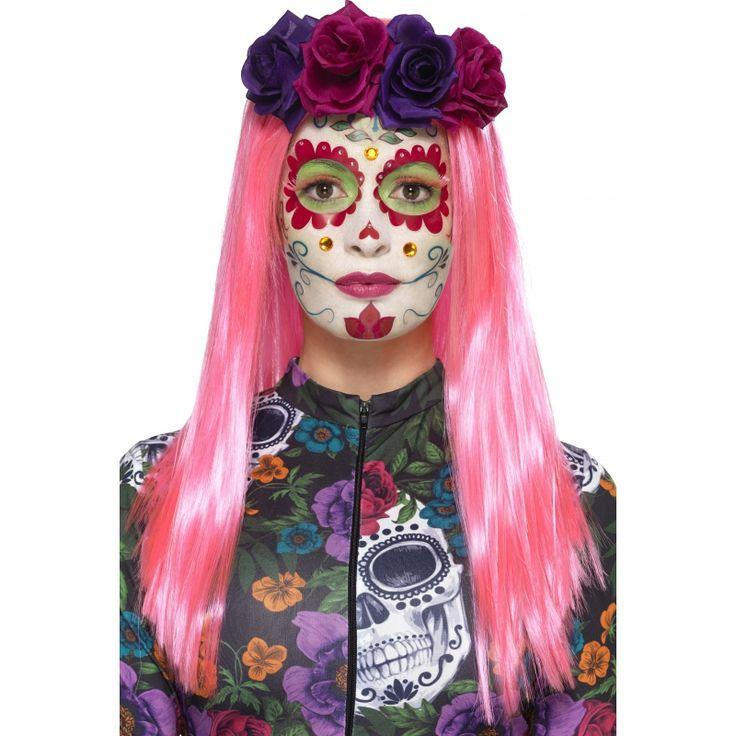 Deze Day of the Dead Sweetheart schmink set bestaat uit witte schmink met een sponsje, een groen krijtje, roze wimpers, strass-steentjes en neon tatoeages.