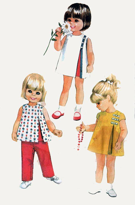 années 1960 McCalls 8721 tout-petits robe asymétrique avec inversé pli haut et pantalon 60 s Vintage Sewing Pattern taille 6 mos UNCUT