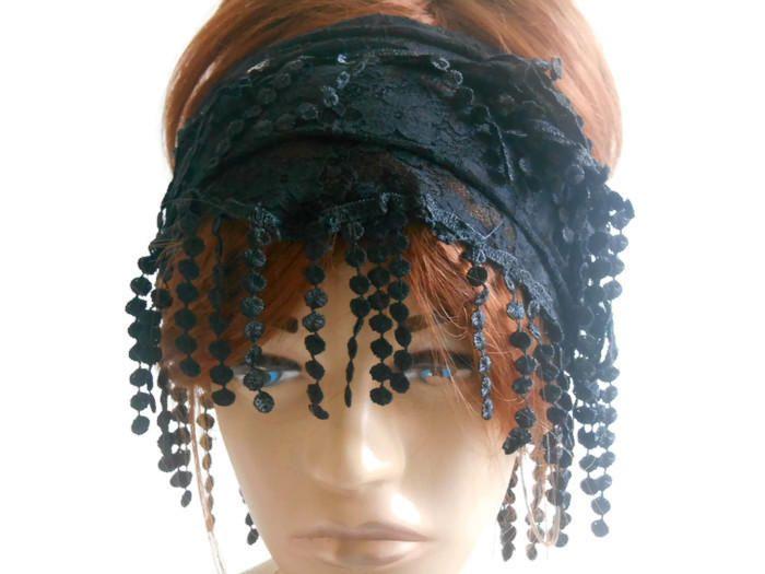 Women Lace Head Band, Black Women Bandana, Bandana Scarf, Women Hair Band, Black Head Band, Women Scarf, Head Cover, Head Bandana by MimosaKnitting on Etsy