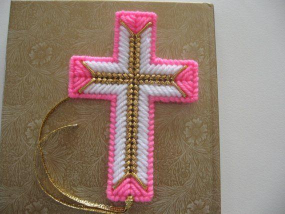 Plastic Canvas Cross Bookmark Pink by LORKEY1981 on Etsy, $3.00
