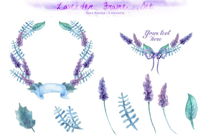 Lavender Frame Set by Dora Katona on Creative Market