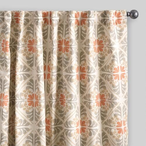 One of my favorite discoveries at WorldMarket.com: Orange Tile Cotton Concealed Tab Top Curtains Set of 2
