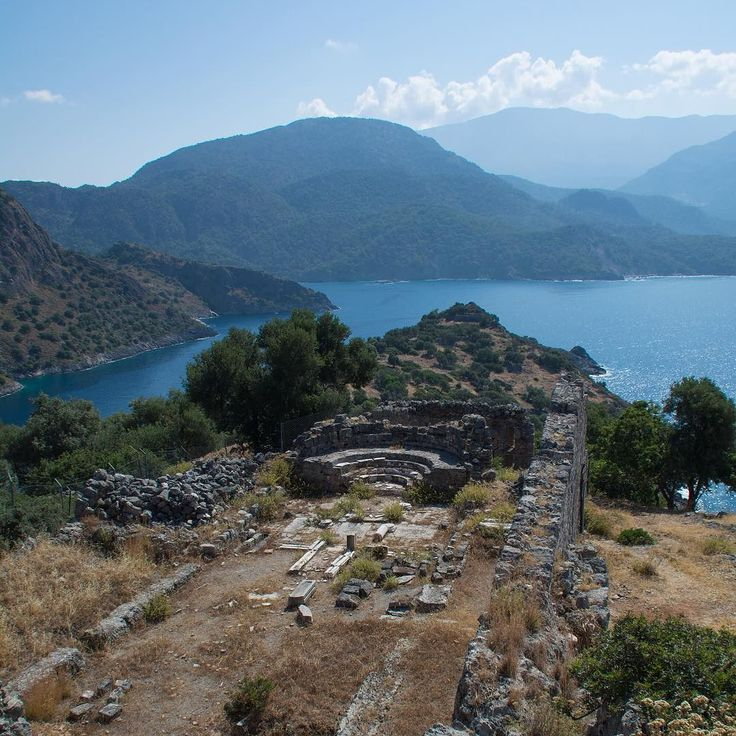 The view from the ruins of Church III at the peak of Gemiler Island is AMAZING!  Looking towards the Blue Lagoon at Ölüdeniz it's easy to see why this area is called the Turquoise Coast.  #gemiler #gemilerisland #stnicholas #stnicholasisland #santaclausisland #fethiye #oludeniz #history #ruins #travel #turkey #turkish #turquoisecoast #mediterranean #travelgram #ilovetravel #traveltheworld #travelpics #travelphotography