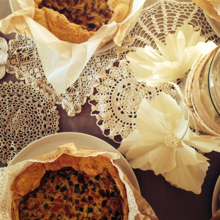 Paper flowers and doilies