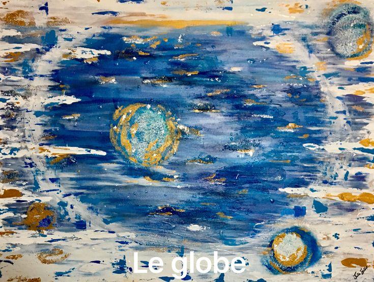 Le Globe Peinture abstraite Pâtes,gel et vernis  30 par 40 pouces 700.00$  Le monde, la vie, les réussites et les difficultés .. Toile à l'acrylique, pâtes, gel, vernis #artwork #art #abstrait #abstract #artiste #peinture