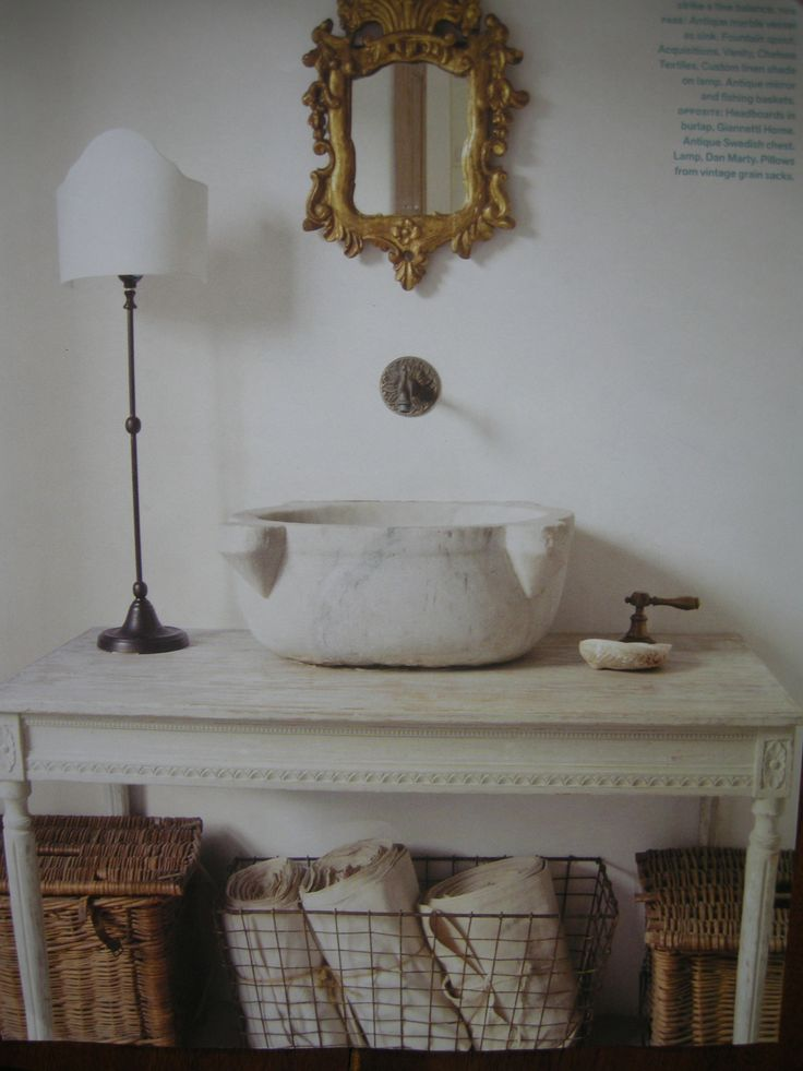 Table plus stone vessel sink Cedar Hill Farmhouse Bathroom Wishlist ...