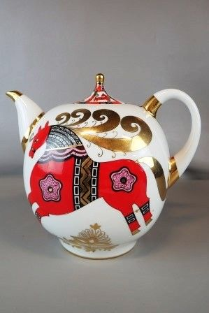 Vintage Russian Teapot - Red, black, & gold on White Ground - made in USSR - Goodwill donation