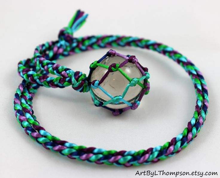 Original art by L. Thompson Six Color Satin Cord Wrapped Smoky Quartz Crystal Ball Healing Necklace - 6 Pointed Star