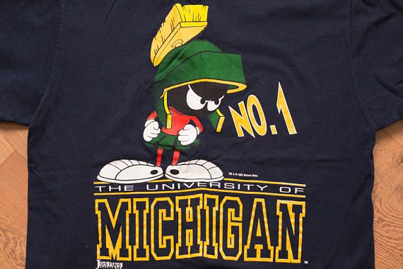 University of Michigan #1 Marvin the Martian T-Shirt, M/L, Wolverines, Vintage 90s, Warner Bros Looney Tunes, WB Cartoon, College Apparel