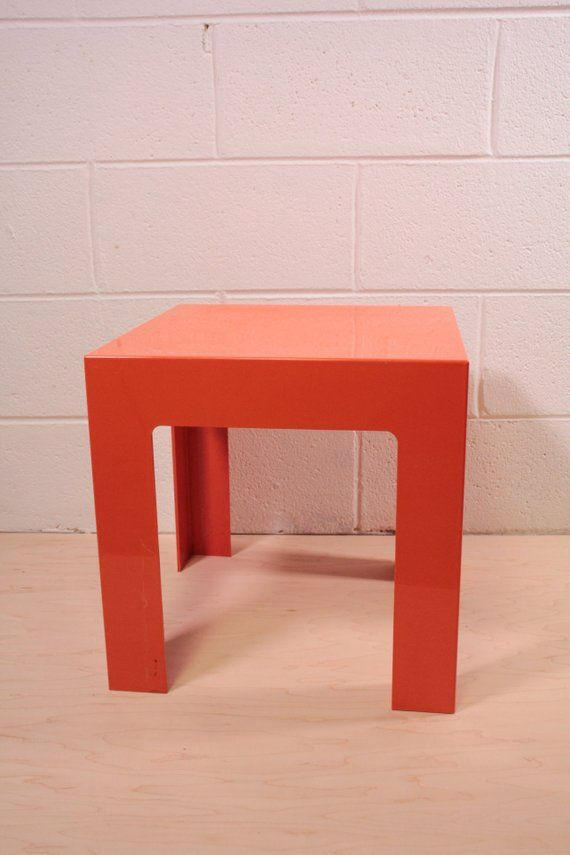 Kartell Style Plastic Parsons Side Table In Orange Etsy