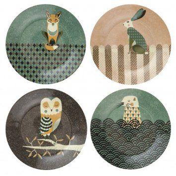 Magpie Dusk Wildlife Set of 4 Plates - Tom Frost design