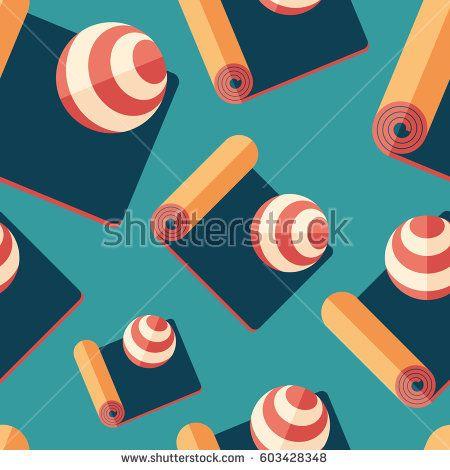 Fitness mat and exercise ball flat icon seamless pattern. #sport #sportart #vectorpattern #patterndesign #seamlesspattern
