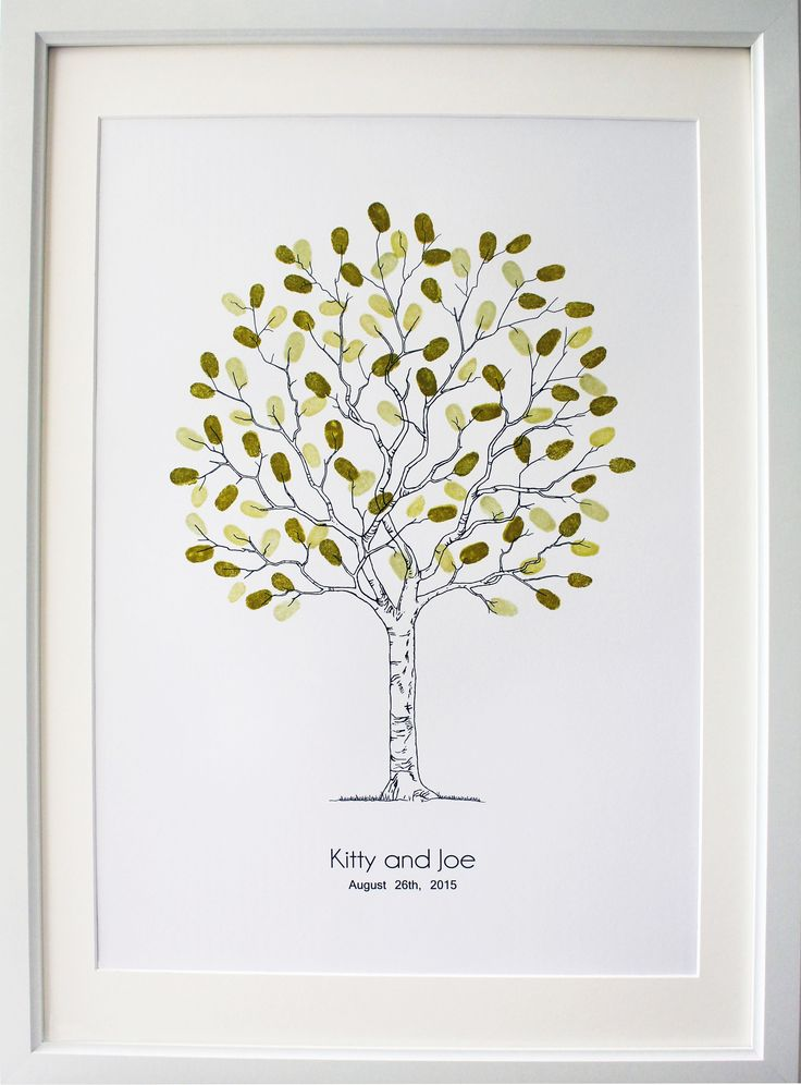 """Fingerprint wedding tree guest book. """"Contemporary tree"""" design, image is A3 size. Available also in A2 or A4 sizes, 20 -120 guests. Suitable for Weddings, engagements, family trees, christenings, naming day ceremonies, birthdays, teacher appreciation etc"""