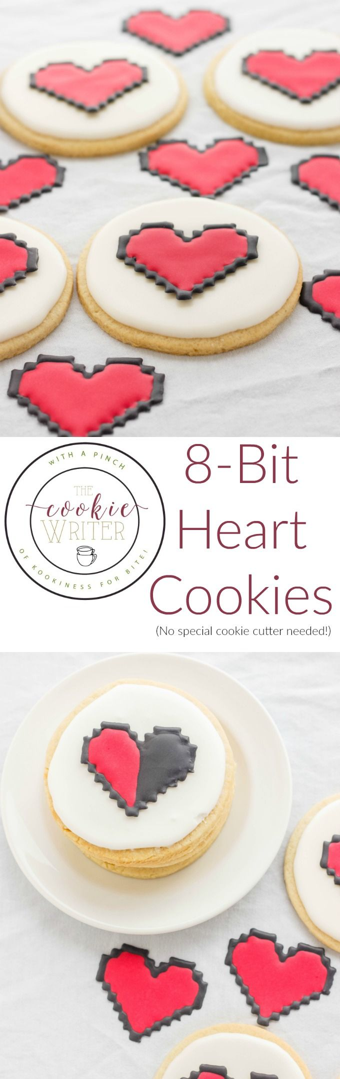 How to make 8-bit heart cookies | http://thecookiewriter.com | @thecookiewriter | #dessert No special cookie cutter required!