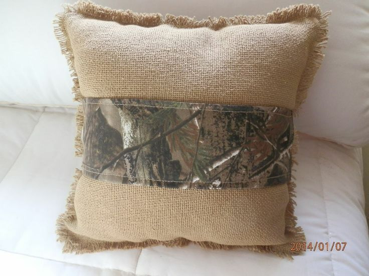 """Burlap Pillow with Camouflage Band 12x12 FOR THE """"MAN CAVE"""" happy happy happy"""