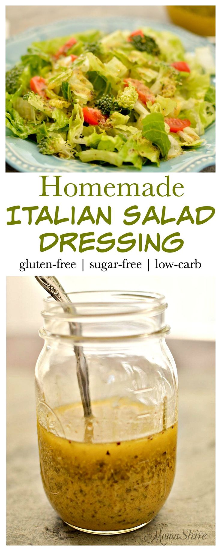 Easy to make Homemade Italian Salad Dressing. Perfect dressing for salads and for dipping veggies and bread. Gluten free, Dairy free, Sugar free! THM-S