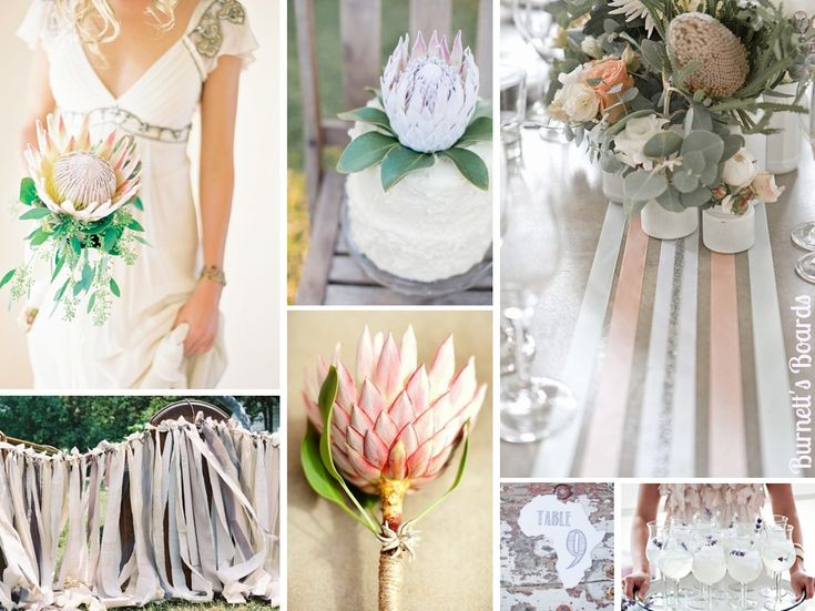 {protea} a protea inspired wedding board with soft natural colors http://burnettsboards.com/2012/11/protea-wedding/