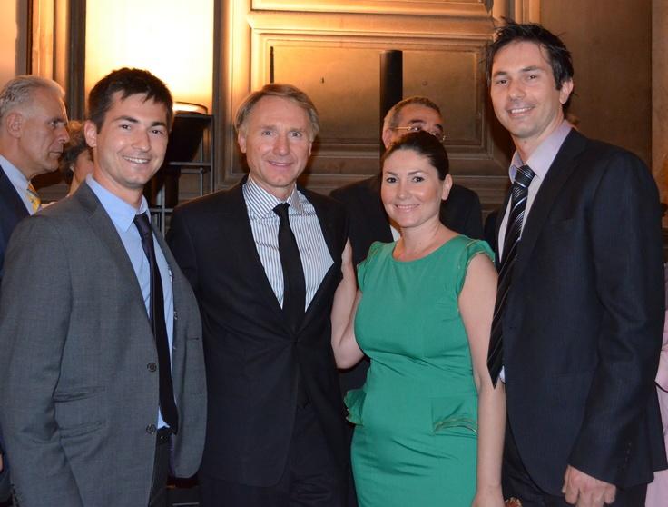 Από αριστερά: Νίκος Ψυχογιός, Dan Brown, Πένυ Ψυχογιού, Χάρης Ψυχογιός ~ #INFERNO 4/6/2013