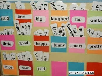 """Tired word wall"" where kids go grab synonyms to use in their writing instead of the ""tired words"""