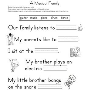 1000+ images about Reading Worksheets on Pinterest | Reading ...Fill-in-the-Blank Worksheets: A Musical Family Fill-in-