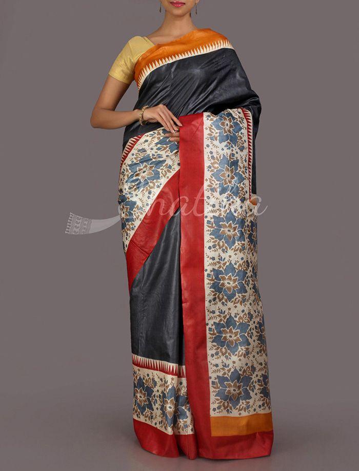 Renu Plain With Flower Print Border Pallu #HandPainted #KosaSilkSaree