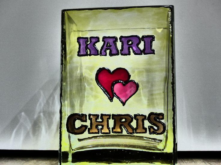 DIY vase, hand painted glass vase,  wedding gift, hearts, 2 hearts