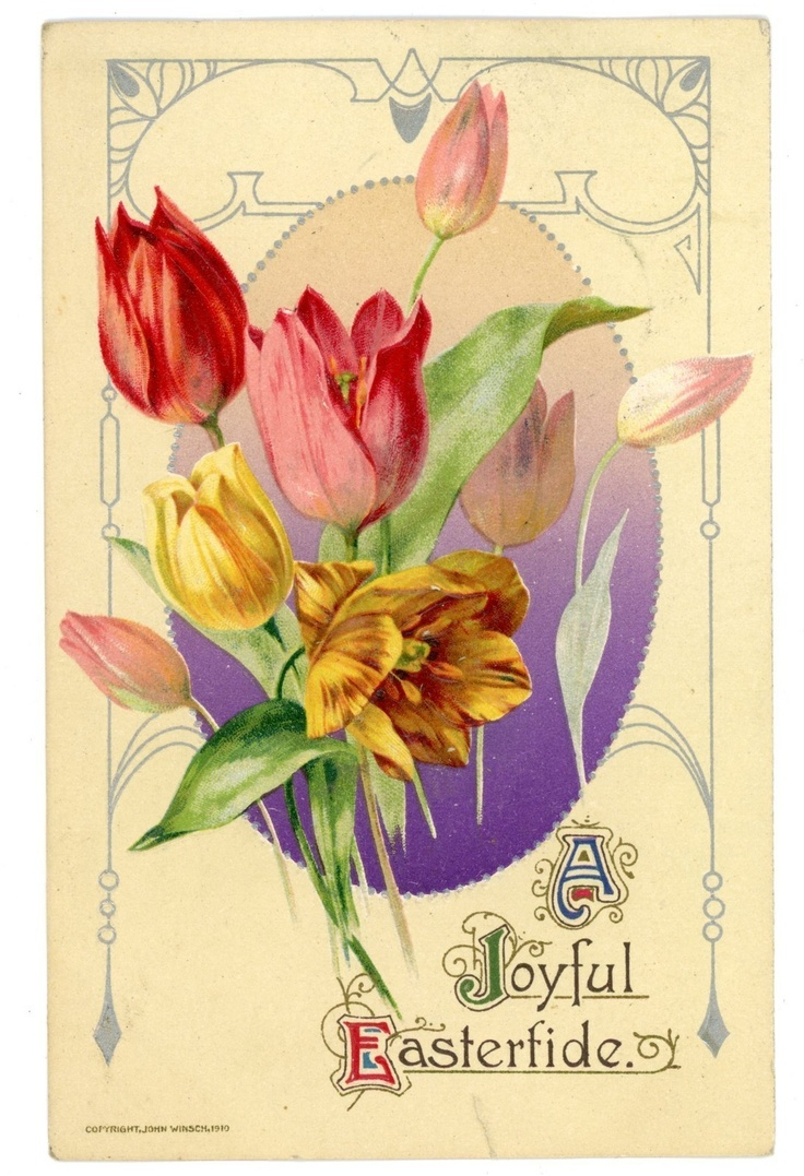 Joyous Easter -BOUQUET OF TULIPS- John Winsch Postcard Art Nouveau | eBay  --This is so perfect!
