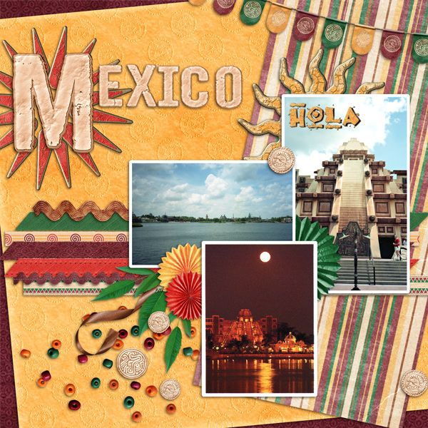 Mexico layout by Carolc; Disney; MouseScrapper.com