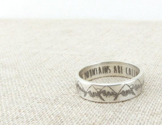 Mountain Ring - Inspirational Jewelry - The Mountains are Calling - Mountain Jewelry - Silver Ring - Wedding Band