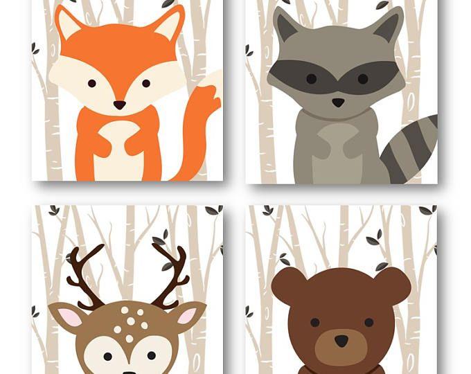 Estampados de animales del bosque, vivero animales arte, bosque vivero Decor, decoración de habitación de bebé, zorro venado mapache y oso