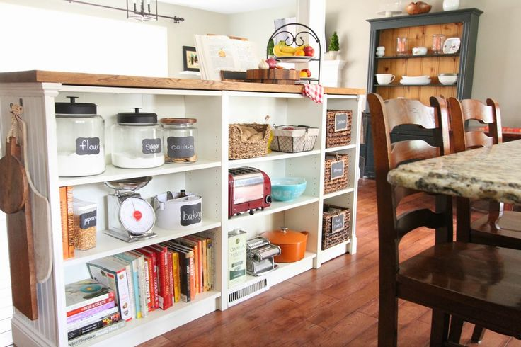 Use bookshelves and a butcher block to create this kitchen essential.