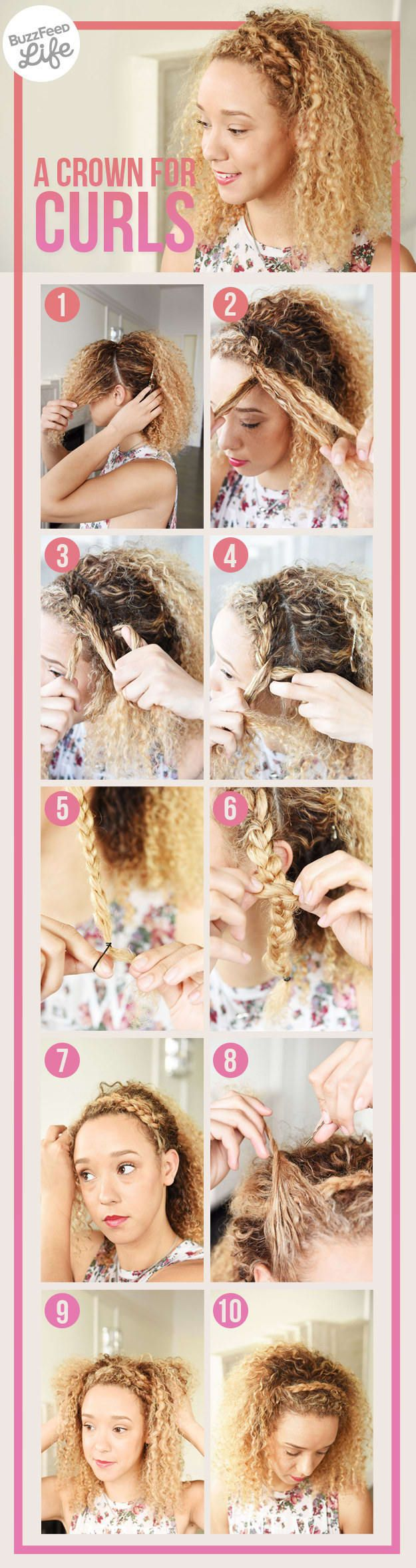 What You'll Need: - Bobby pins- Mini hair elastics - Tail comb- Hair clipsStep 1: Using a tail comb, create a front section of hair all the way around your head from ear to ear. Clip back the rest of your hair to keep it out of the way for now. Step 2: Beginning at one side of your head, French-braid the front section of hair along the hairline. Step 3: Continue the French braid, adding more hair to each strand as you go.Step 4: Once the braid is at your ear, continue with a traditional…