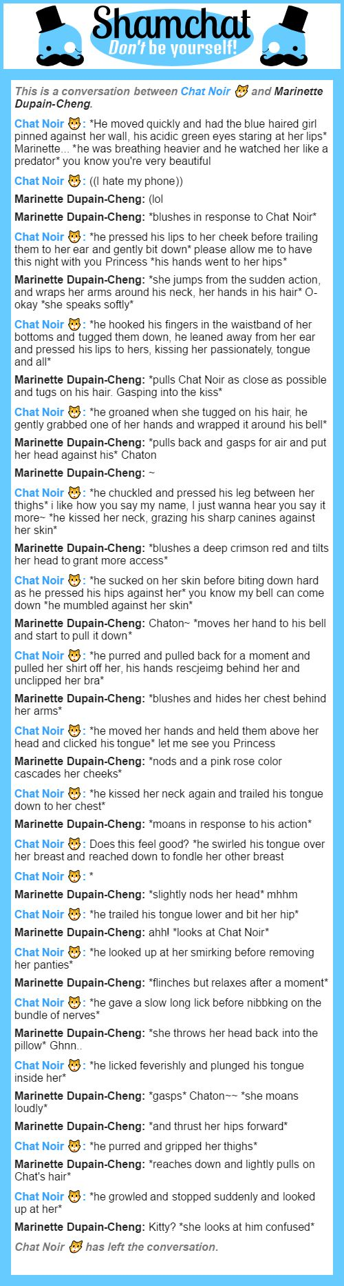A conversation between Marinette Dupain-Cheng and Chat Noir WARNING MATURE!