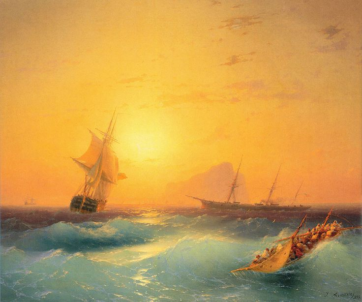 Ivan Konstantinovich Aivazovsky. American Shipping off the Rock of Gibraltar, Date: 1873. Buy this painting as premium quality canvas art print from Modarty Art Gallery. #art, #canvas, #design, #painting, #print, #poster, #decoration