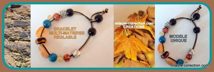 Bracelet multi-matières , pièce unique , création mlaure-collection.com