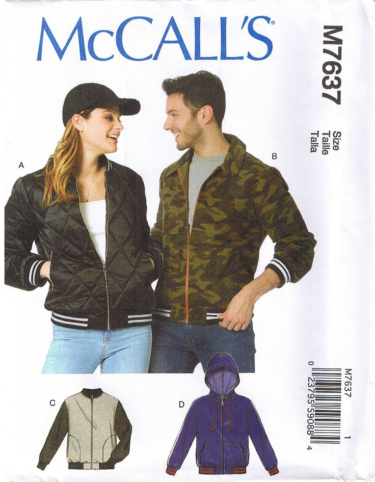 Mens, Misses & Teens bomber jacket McCalls 7637 sewing pattern. Available for sale in my ebay store.