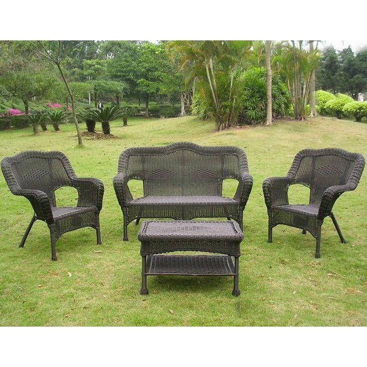Outdoor International Caravan Madison Wicker Resin Patio Conversation Set - Seats 4 Antique Black - 3180-AB