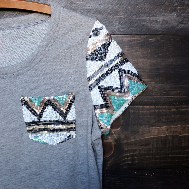 it girl aztec sequin pocket short sleeves french terry t shirt grey – paper hearts