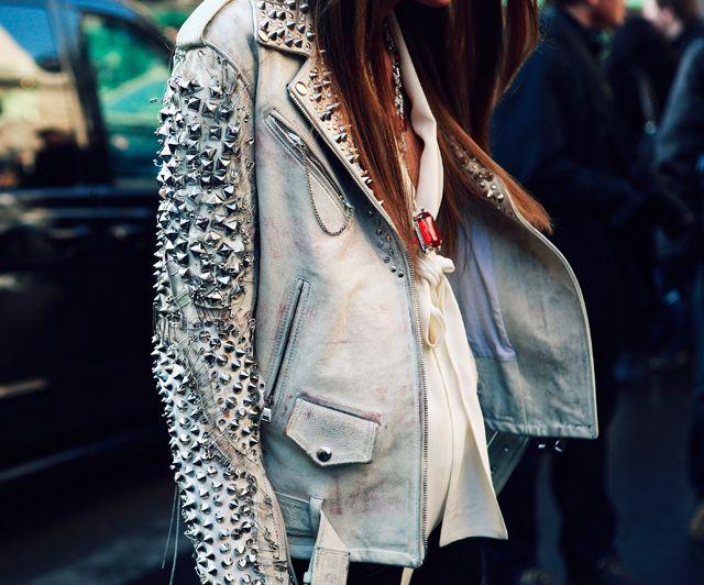 studded leather jacket by balmain