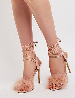 9ed3a1a1163a Feather Ankle Tie Sandals Sexy High Heels