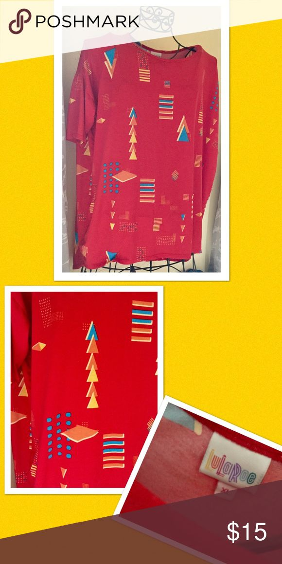 Lularoe Irma Lularoe Irma, red, yellow, turquoise, size xl, euc  Reposh: due to size, lost weight and it's too big LuLaRoe Tops Tunics