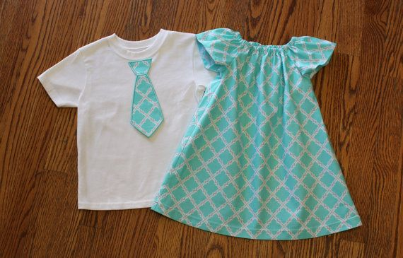 Brother and Sister Matching Outfits  Girl's Mint and Gray