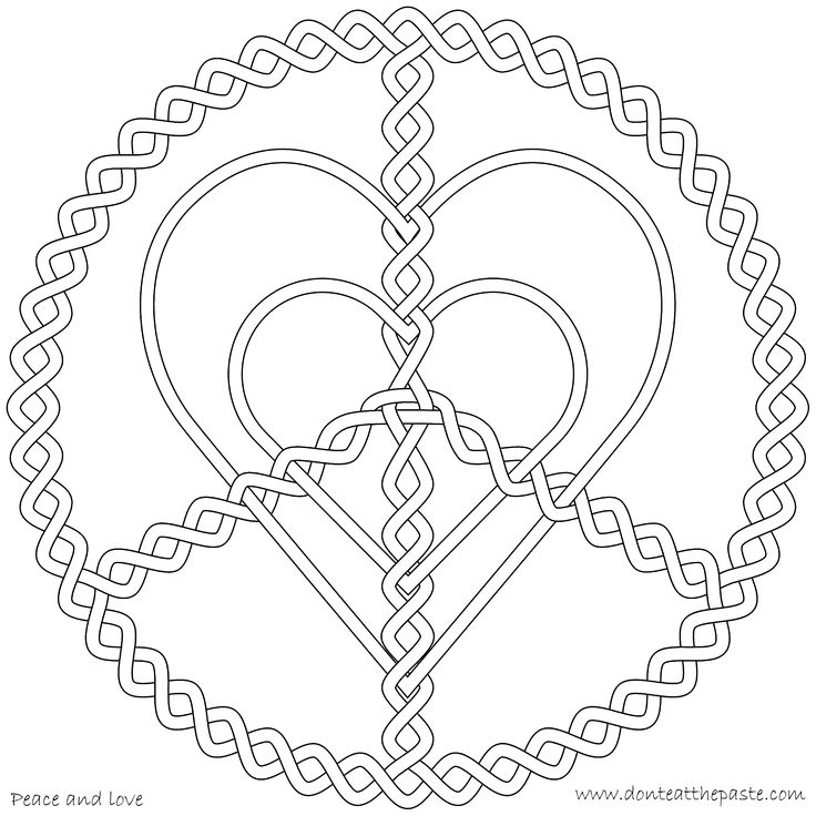peace and love coloring page corazones hearts pinterest coloring mandala coloring and. Black Bedroom Furniture Sets. Home Design Ideas